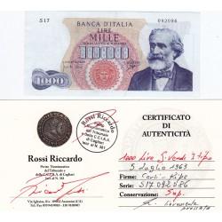 1000 LIRE G VERDI I TIPO 5 LUGLIO 1963