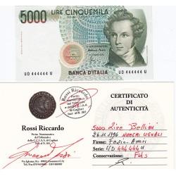 5000 LIRE BELLINI 26.11.1996 NUMERI UGUALI FDS