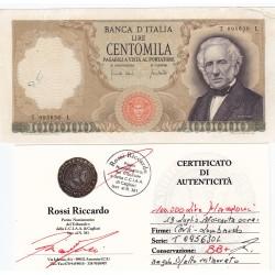 100000 LIRE MANZONI 19 LUGLIO 1970 CARTA OCRA