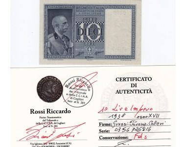10 LIRE IMPERO 1938 anno XVII