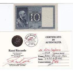 10 LIRE IMPERO 1939 ANNO XVIII