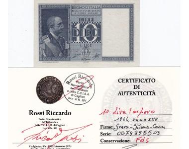 10 LIRE IMPERO 1944 ANNO XXII