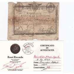 BANCO DI SANTO SPIRITO ROMA 40 BAIOCCHI 18 AGOSTO 1798
