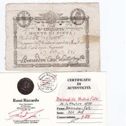 MONTE DI PIETA' 50 BAIOCCHI ROMA 14 SETTEMBRE 1798