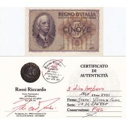 5 LIRE IMPERO 1940 ANNO XVIII