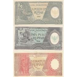 INDONESIA SERIE 25-50-100 RUPIAH 1964 UNC