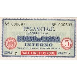BUONO DI CASSA DA 5 LIRE F.LLI GANCIA  FDS