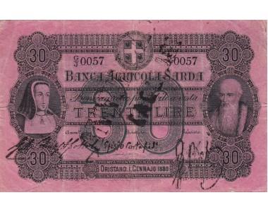 Banca Agricola Sarda 30 Lire 1880