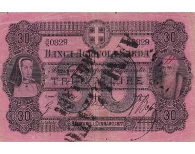 Banca Agricola Sarda 30 Lire 1877