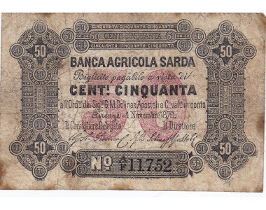 Banca Agricola Sarda 50 centesimi 1872