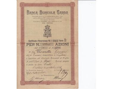 Banca Agricola Sarda certificato da una Azione 1886