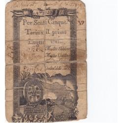 Regie Finanze 5 Scuti per la Sardegna 1781