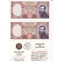 10000 LIRE MICHELANGELO 2 ESEMPLARI CONSECUTIVI 15 Febbraio1973