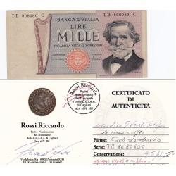 1000 LIRE G.VERDI II TIPO 1971 numeri di serie uguali a coppie