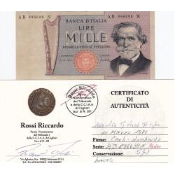 1000 Lire G.Verdi II tipo 1971 numeri di serie  RADAR