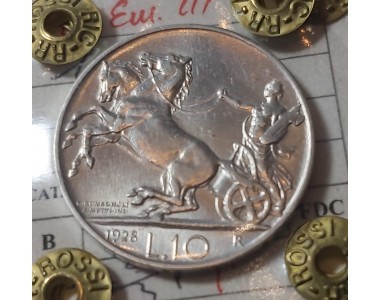 10 LIRE 1928 1 ROSETTA  SPL