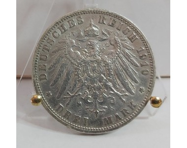 GERMANY 3 MARK 1910 SILVER COIN