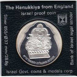 ISRAELE  2 New Sheqalim 1987 Silver Proof-HANUKKIYA FROM  England