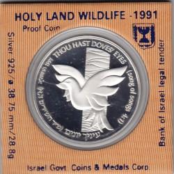 Israel  2 New Sheqalim 1991 Silver Proof- Holy Land Wildlife