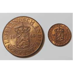 1945 Nederland Indie  1/2 Cent and 2/5 Cents