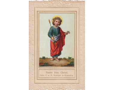 CROMOLITOGRAFIA PASSIONE DI GESù BAMBINO 1880